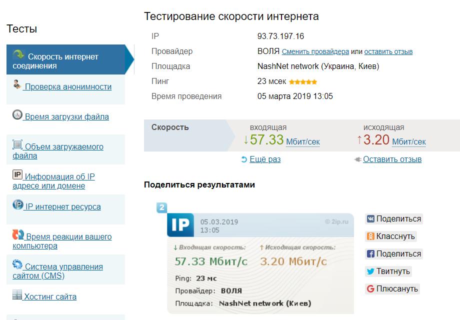 Измерить скорость интернета 2ip