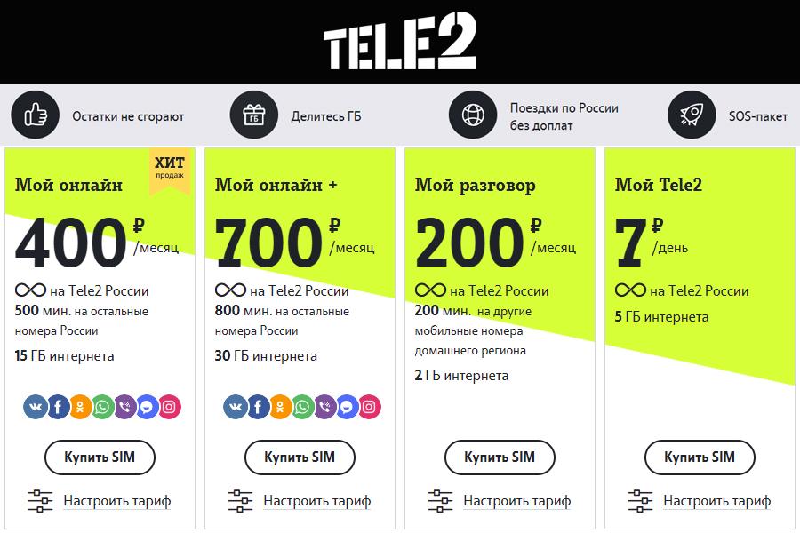 Сотовый оператор Tele2 запустил новую линейку тарифных планов