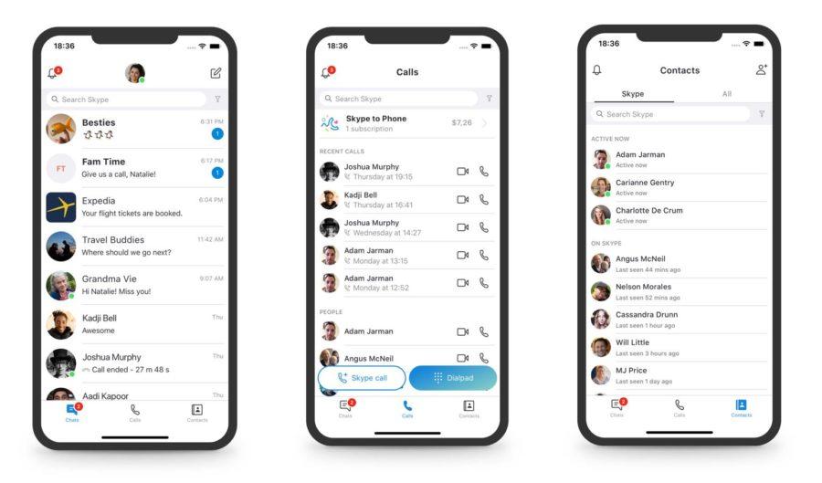 новый дизайн Skype мобильное приложение
