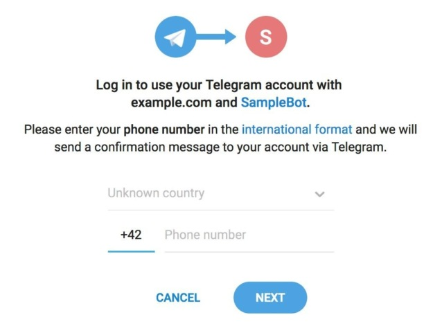 авторизация через Telegram Login