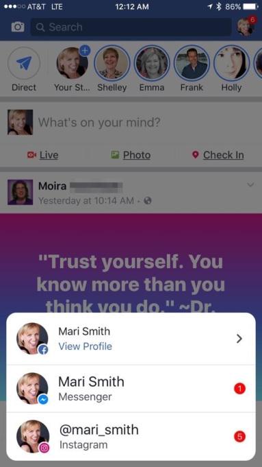 уведомления Instagram и Messenger в Facebook