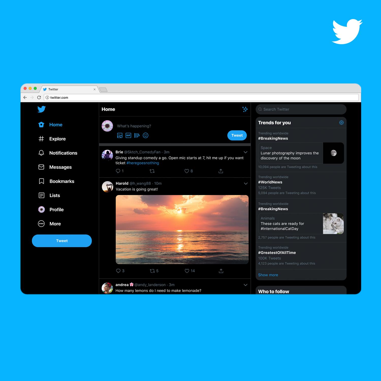 Twitter новый дизайн темная тема