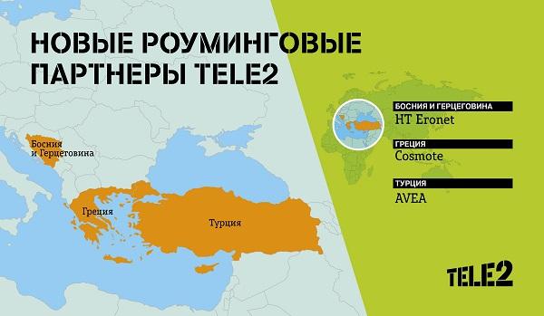 Роуминговые партнеры Tele2 Греция Турция